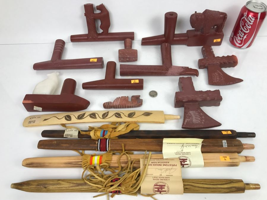 HUGE Collection Of Native American Peace Pipes Pipestone Catlinite Ceremonial Smoking Pipes Bear Buffalo Wolf Tomahawk (See All Photos For Details) Lot Retails For $2,000+ [Photo 1]