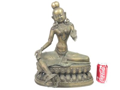 Vintage Tibetan Tara Bronze Brass Deity Sculpture (See All Photos)
