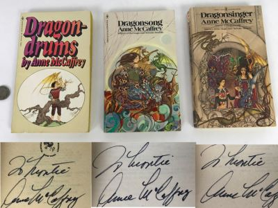 (3) Signed Anne McCaffrey Paperback Books: Dragondrums, Dragonsong And Dragonsinger