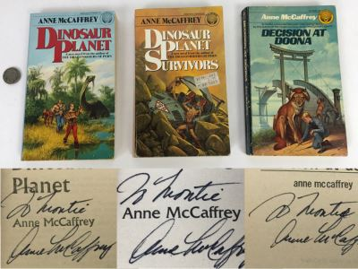 (3) Signed Anne McCaffrey Paperback Books: Dinosaur Planet, Dinosaur Planet Survivors And Decision At Doona