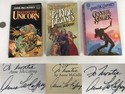 (3) Signed Anne McCaffrey Paperback Books: Get Off The Unicorn, To Ride Pegasus And Crystal Singer
