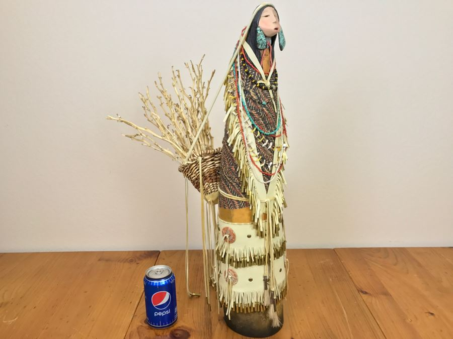 Stunning Robert Rivera Apache Basket Woman Gourd Art With Unique Wardrobe And Set Of Beaded Jewelry 25' X 14' Retailed For $3,000 [Photo 1]