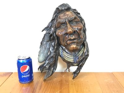 Signed Bronze Wall-Mounted Bust Of Native American 10'W X 14'H X 4.5'D