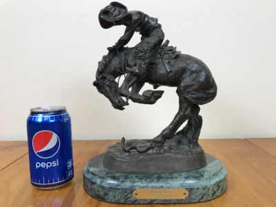 Reproduction Frederic Remington Bronze Statue Sculpture Titled 'Rattlesnake' 9'W X 11'H X 6'D