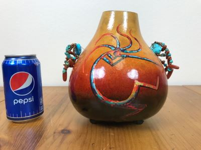 Signed Hand Painted Gourd Art With Turquoise And Coral Handles 7.5'W X 7.5'H