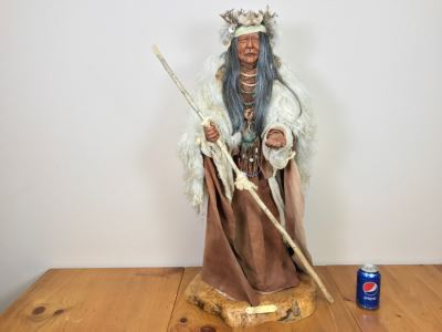 Impressive SHAMAN Sculpture By Michele Malpica AKA Misha 35'H X 18'W Retailed For $2,200