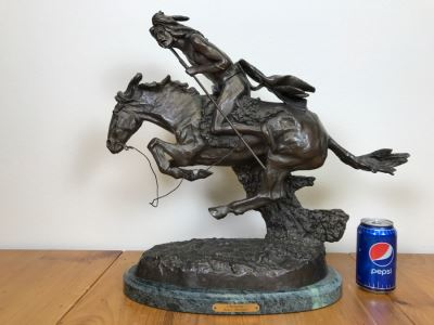 Reproduction Fredric Remington Bronze Statue Titled 'Cheyenne' 22'W X 9'D X 20'H