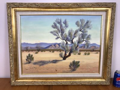 Carl G. Bray Original Oil Painting Of Desert Smoke Tree 30'W X 24'H
