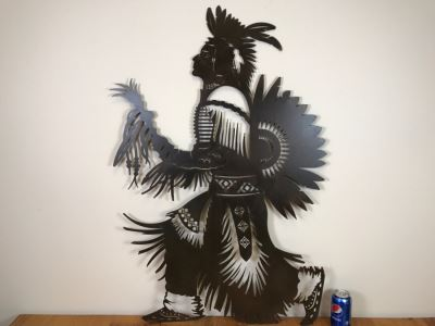Wall-Mounted Metal Cut Out Of Native American 29'W X 42.5'H