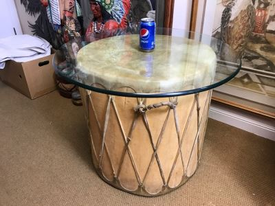 Large Rawhide Drum Table With Glass Top - Drum Measures 22'R X 22'H - Glass Measures 30'R X 0.5'T