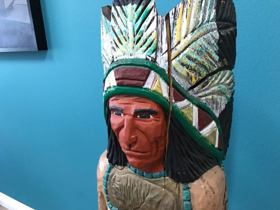 Frank Gallagher Cigar Store Indian Chief Carved Wooden
