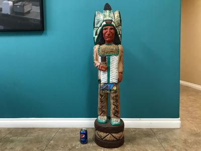 Frank Gallagher Cigar Store Indian Chief Carved Wooden Indian Statue Signed F. Gallagher 4' 1' Tall