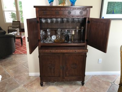 Carved Wooden Bar Cabinet With Lower Wine Storage For 45 Wine Bottles 37.5'W X 16'D X 61.5'H