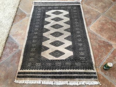 Signed Persian Hand Knotted Area Rug 58' X 37'