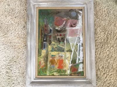 Original Modernist Mid-Century Oil Painting By Eleanor Coen (1916-2010) Titled 'White Fence' From Fairweather Hardin Gallery Chicago, Ill