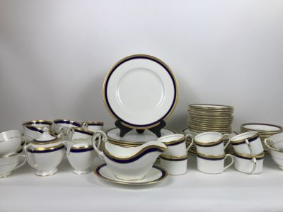 Elegant Gold And Blue Rim Coalport Bone China Set Elite-Royale Made In England Apx 73 Pieces