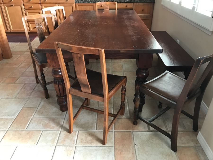 Solid Wood Farmhouse Table With Bench And (5) Vintage Chairs [Photo 1]