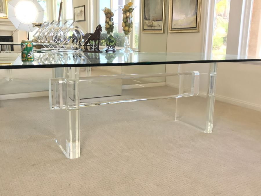 Signed MidCentury Modern Karl Springer Lucite Dining Table With - Mid century modern glass top dining table