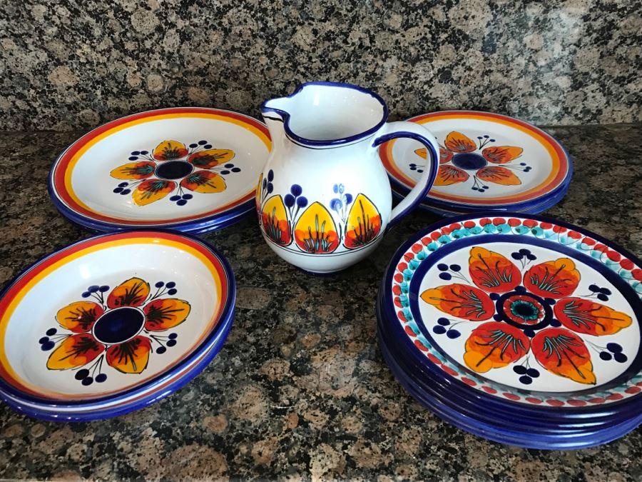 (13) S. Stefano Camastra And La Giara Ceramic Pitcher And Plates Made In & 13) S. Stefano Camastra And La Giara Ceramic Pitcher And Plates Made ...