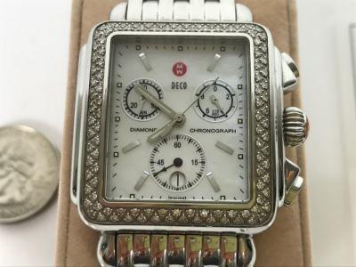 MICHELE Luxury Diamond DECO Chronograph Ladies Watch 71-6000 108 Individually Set White Diamonds 0.6 Carot TW Retails $1,495