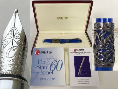 CURTIS Australia Limited Edition Ballpoint Pen The State Of Israel 1948-2008 Sterling Silver 402 of 1,948 With 14K Nib