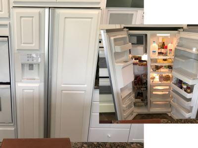 White JENN-AIR Refrigerator With Wood Paneling Model No JCD2289AT 22.2 Cu Ft