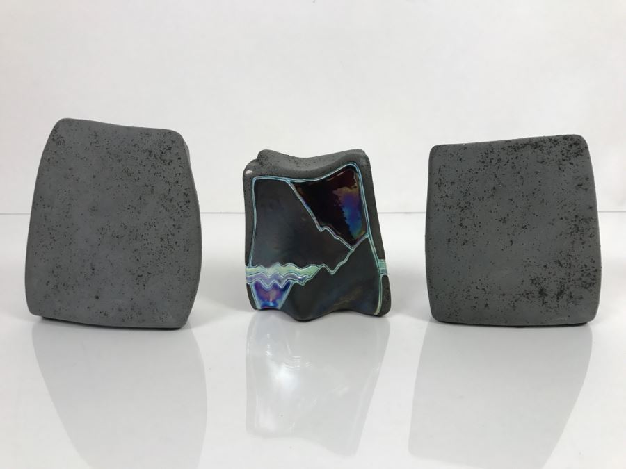 Set Of 3 Painted Rocks Hand Signed By Artist