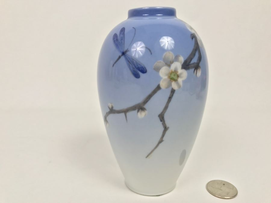 Stunning Royal Copenhagen Denmark Art Nouveau Vase With Dragonfly
