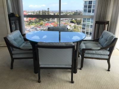 Coronado Shores Condo 14th Floor Overlooking Hotel Del Coronado With Mid-Century Chinoiserie And Chinese Furniture, Royal Doulton Figurines And More