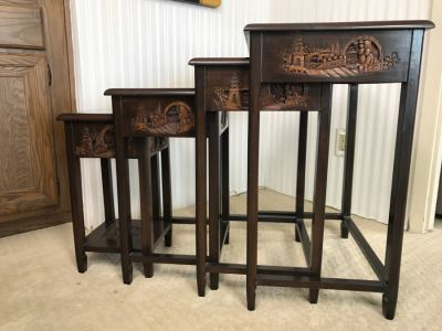 Set Of (4) George Zee & Co Kiln Dried Art Carved Furniture Nesting Tables From Hong Kong