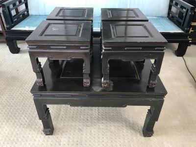 Vintage George Zee & Co Kiln Dried Art Carved Furniture Coffee Table With (4) Nesting Smaller Tables