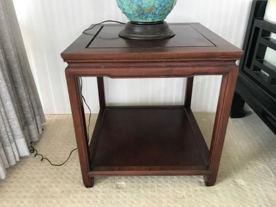 Vintage Hong Kong Rosewood 2-Tier Side Table By Arkraft