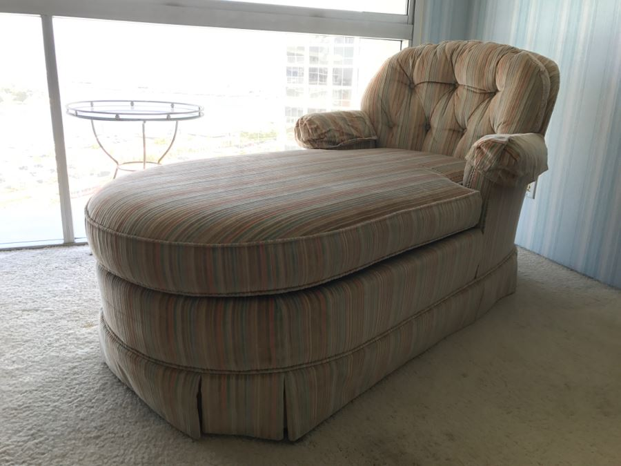 Vintage Upholstered Chaise Lounge Chair