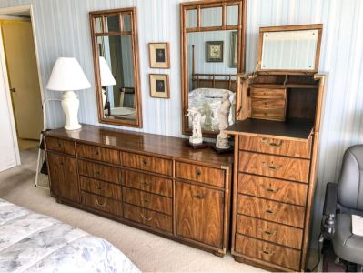 Vintage Drexel Heritage Campaign Style Bedroom Set With Long Chest Of Drawers, Highboy Chest Of Drawers With Flip Top Mirror And Pair Of Wall Mirrors