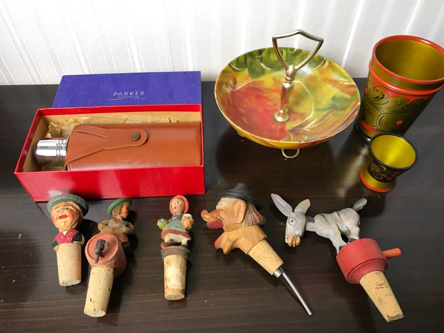 Carved Wooden Wine Stoppers, Vintage NOS Parker Flask, Wooden Russian Cups and Handled Dish [Photo 1]