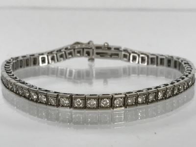 14K White Gold Tennis Bracelet 2.33CTTW Apx Si-2 To I-1 G-I Color 13.0g FMV $2,400