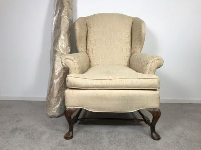 Queen Anne Style Wingback Armchair With Bolt Of Fabric For Reupholstering Chair