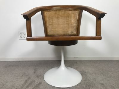 Mid-Century Tulip Base Cane Back Armchair (Does Not Swivel)