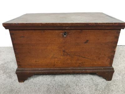 Antique Primitive Tongue And Groove Footed Box Purchased In Leihigh Valley PA From Early 19th Century Farm House