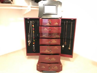 JUST ADDED - Standing Jewelry Box With Mirror And Various Jewelry Pieces - See Photos