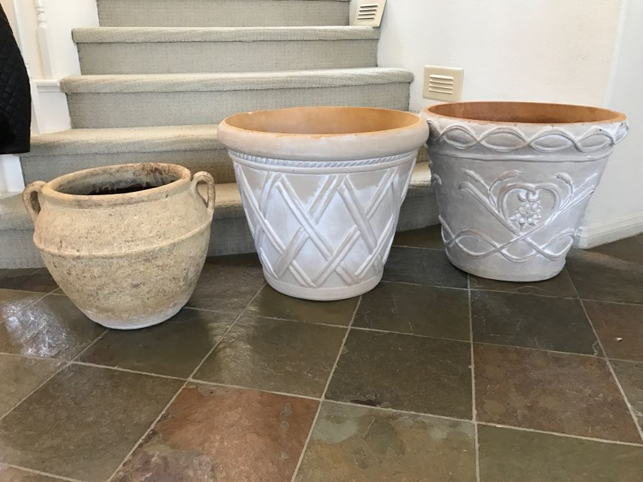 JUST ADDED - Clay Handled Flower Pot And (2) Light Foam Flower Pots [ & JUST ADDED - Clay Handled Flower Pot And (2) Light Foam Flower Pots