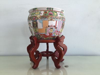 Chinese Fish Bowl Planter With Wooden Stand
