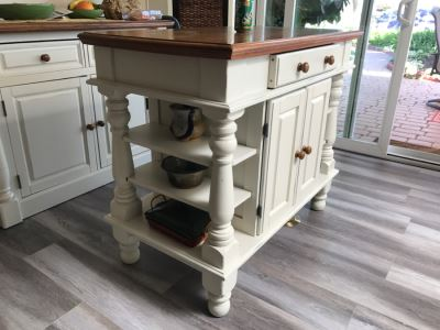 White Kitchen Island Cabinet With Side Shelves