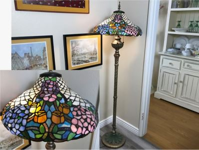 Pair Of Stained Glass Floor Lamps