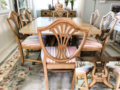 Stunning Drexel Duncan Phyfe Style Lyre Dining Table With (6) Chairs And (3) Leaves