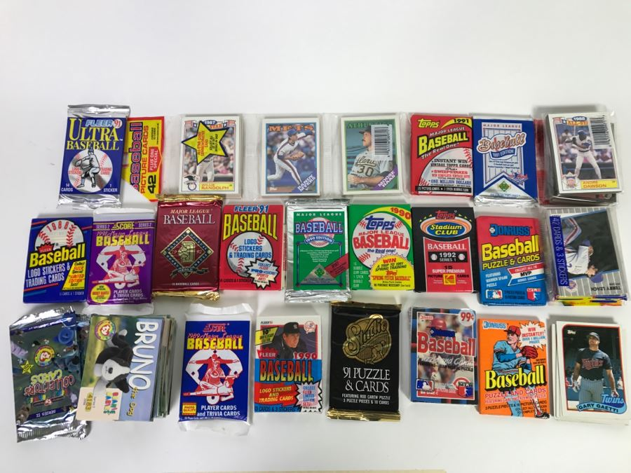 Large Lot Of Mostly Unopened Baseball Card Packs And Beanie