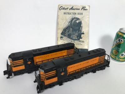 Pair Of American Flyer Lines Train Engines With Gilbert American Flyer Instruction Book 377 378