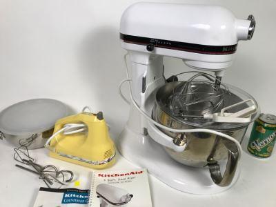 White KitchenAid Professional 6 Quart Stand Mixer With Yellow Ultra Power Plus 7 Hand Held Mixer