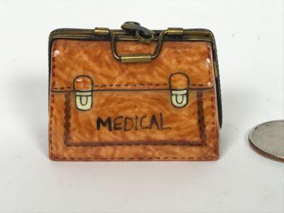 Limoges France Medical Bag Figurine Trinket Box