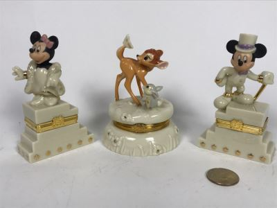 Set Of (3) LENOX Limited Edition DISNEY Treasure Boxes: (2) Mickey And Minnie's 75th Anniversary And Bambi's 60th Anniversary